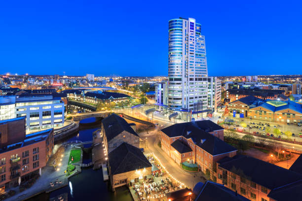 Leeds city centre skyline at night stock photo
