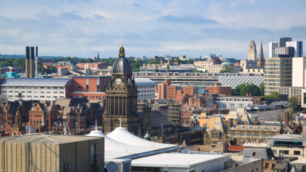 Leeds city centre skyline showing Leeds Town Hall stock photo