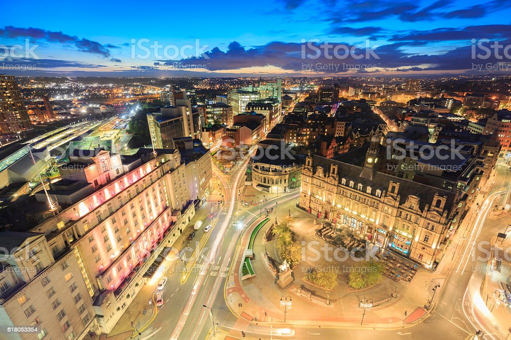 Leeds City Square and panoramic night view of skyline stock photo