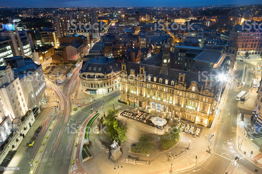 Leeds City Square at night stock photo