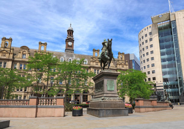 Leeds City Square,  showing the Black Prince statue, offices, bars and restaurants stock photo