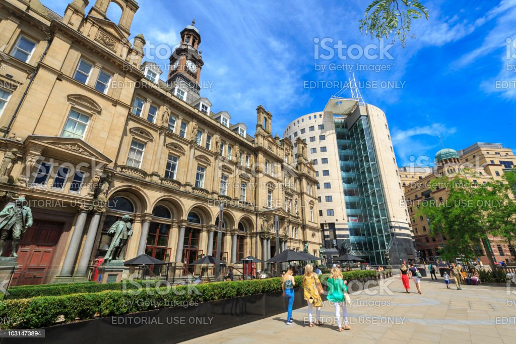 Leeds City Square - the former Post Office building which is now a restaurant and bar stock photo