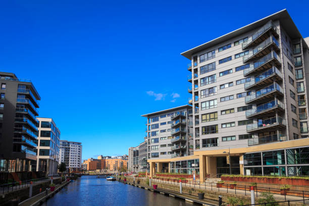 Leeds dock apartments and offices stock photo