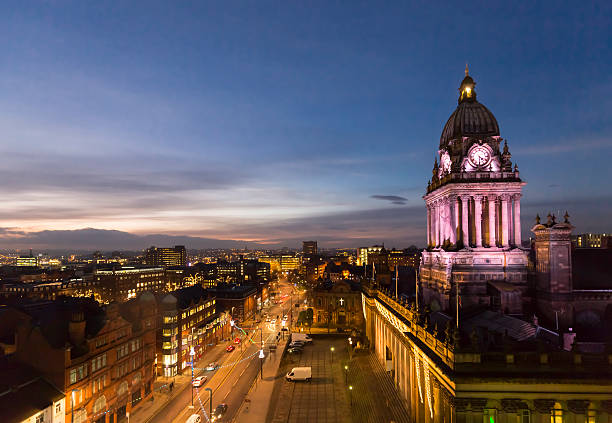 Leeds Town Hall and panoramic night view of skyline stock photo