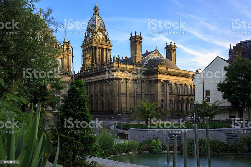 Leeds Town Hall at dusk stock photo
