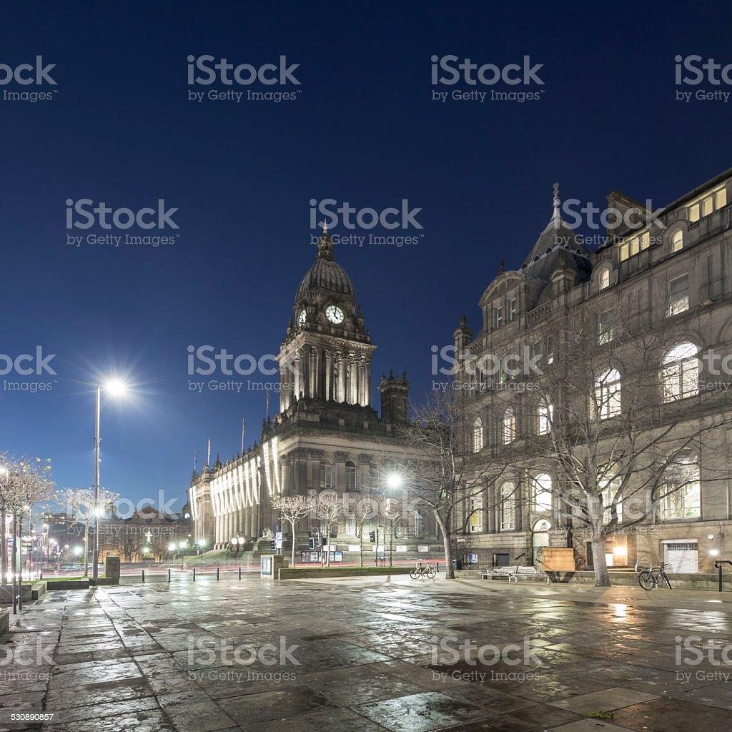 Leeds Town Hall at night stock photo