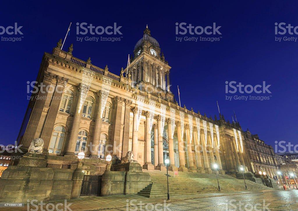 Leeds Town Hall lit up at night stock photo