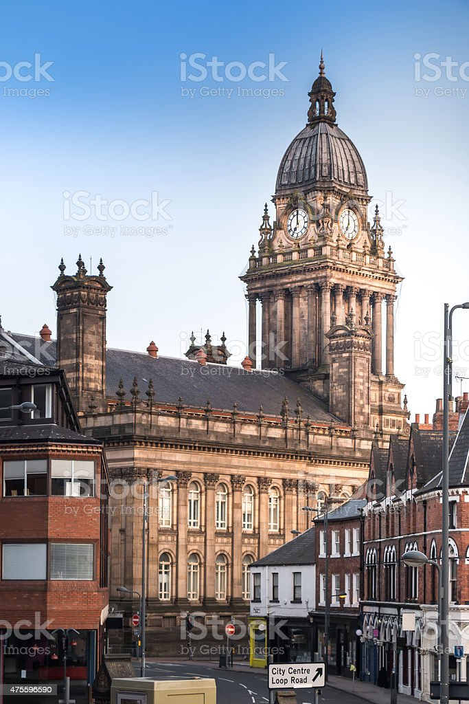 Leeds Town Hall (Side View) stock photo