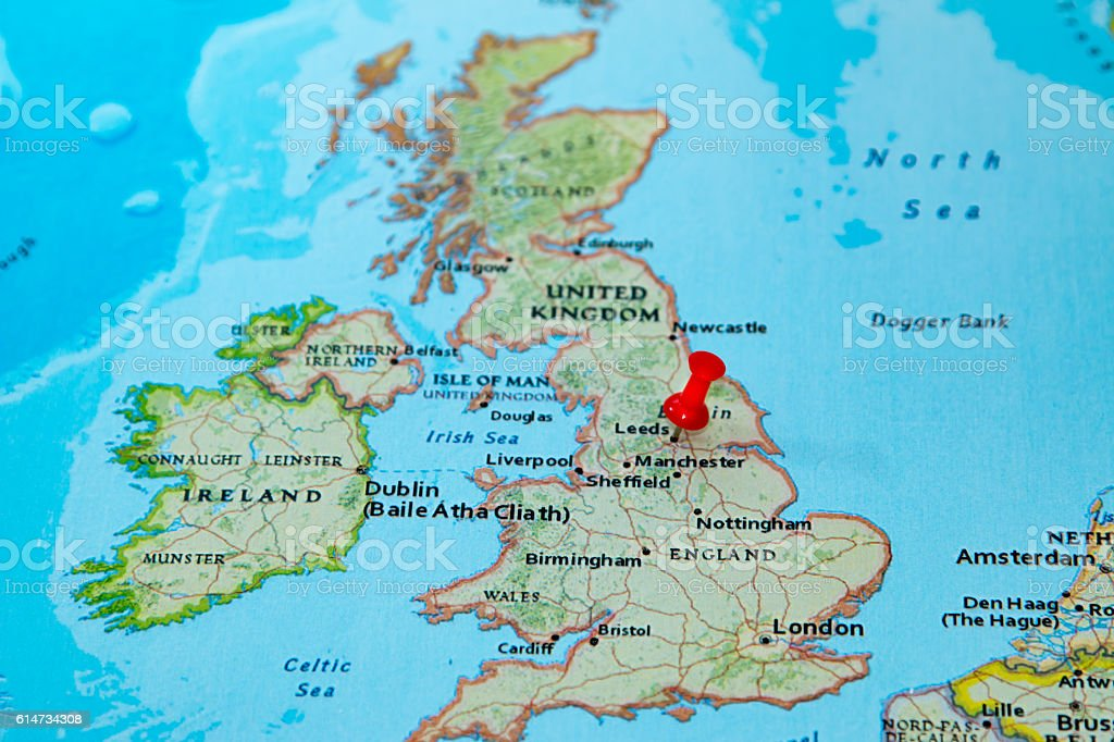 Leeds Uk Pinned On A Map Of Europe Stock Photo More Pictures of