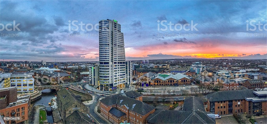 Leeds West Yorkshire at Sunset stock photo
