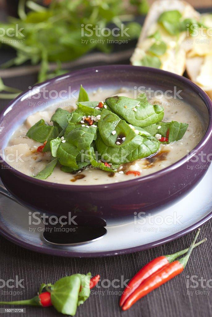 Leek and potato soup royalty-free stock photo