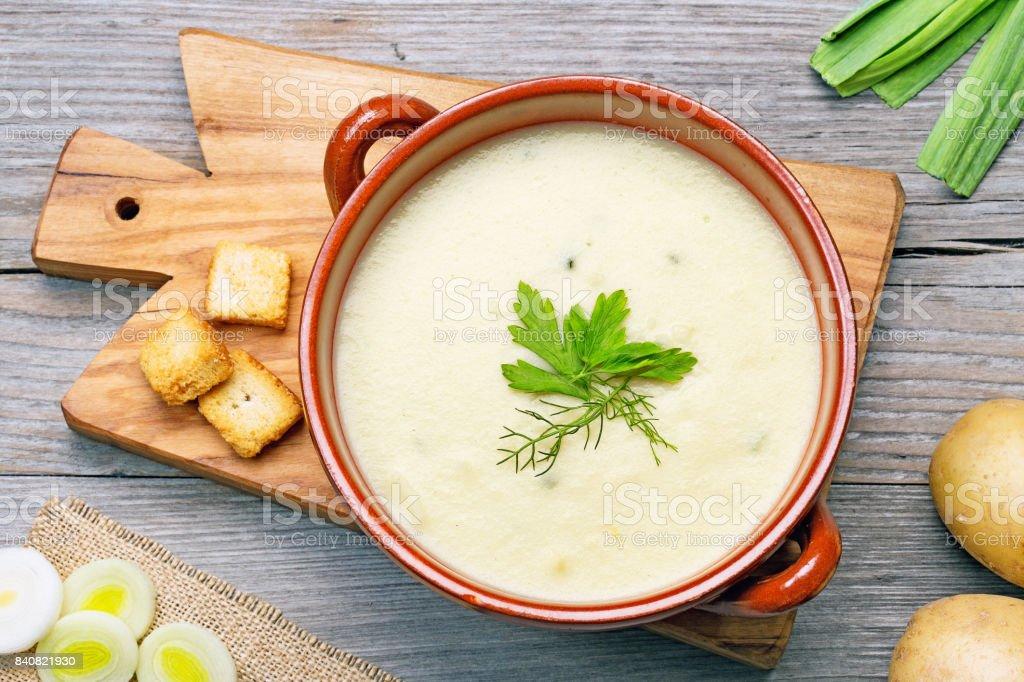 leek and potato soup top view stock photo