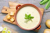 leek and potato soup top view