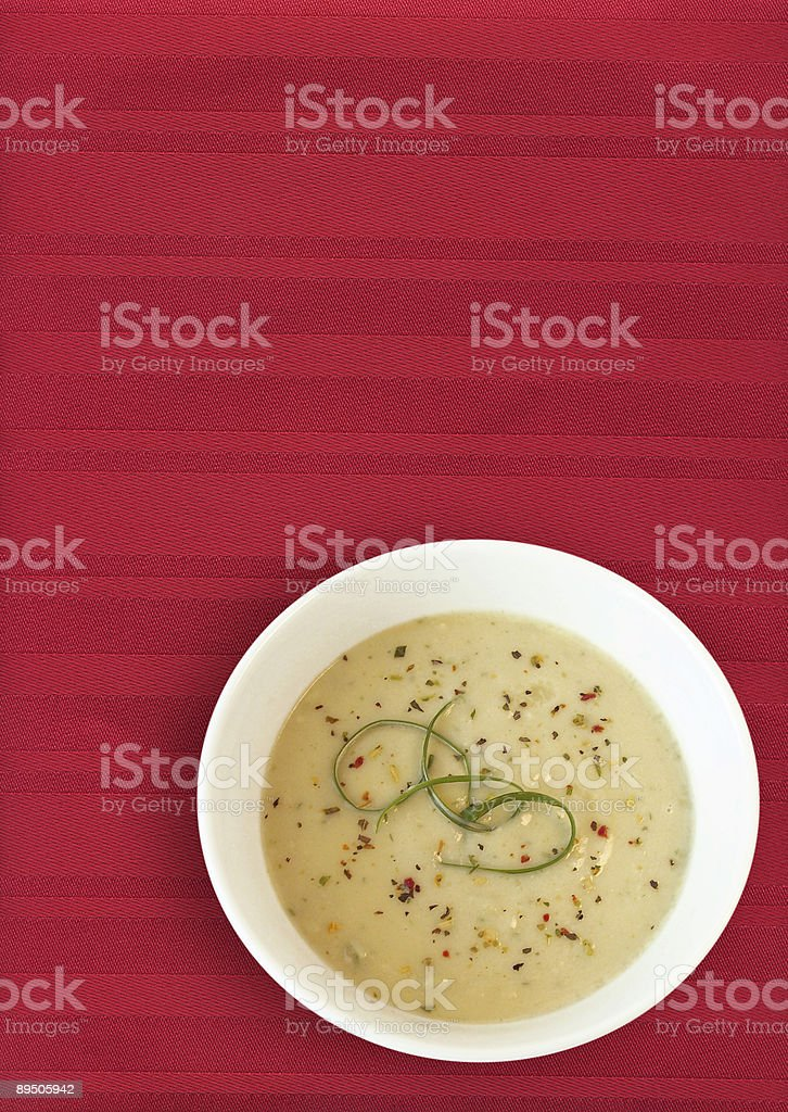 Leek Soup on Red Placemat royalty-free stock photo