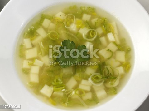 Hot potato and leek soup with onion and parsley in a white bowl