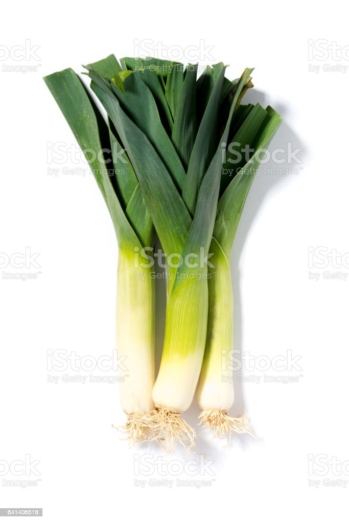 Leek Stalks on a White Background stock photo