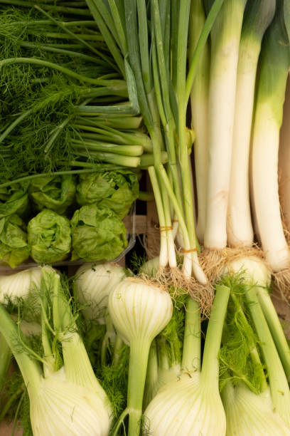 Leeks and celery on a market stall