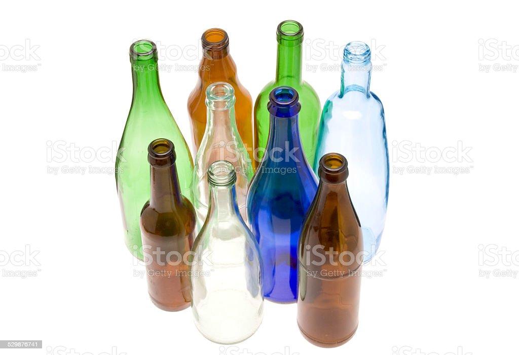 leere bunte Glasflaschen (Recyclingglas) stock photo