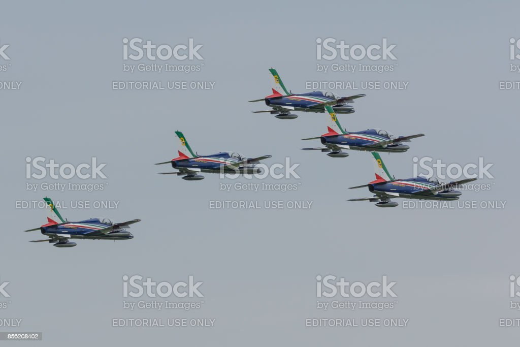 Leeuwarden Netherlands June 11 2016: Frecce Tricolori at luchtmachtdagen stock photo
