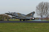 Leeuwarden, Netherlands mar 31 2017: Dassault Mirage 2000 during Frisian Flag exercise