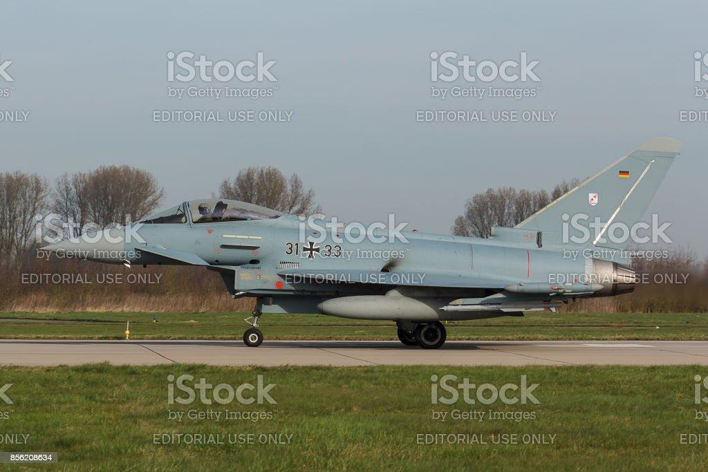 Leeuwarden, Netherlands mar 31 2017: Eurofighter EF2000 Typhoon during Frisian Flag exercise stock photo