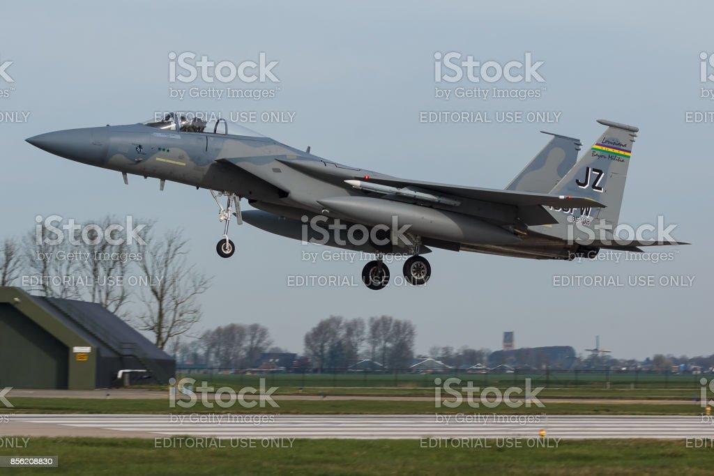Leeuwarden, Nederland mar 31 2017: USAF F-15 Eagle tijdens de oefening Frisian Flag foto