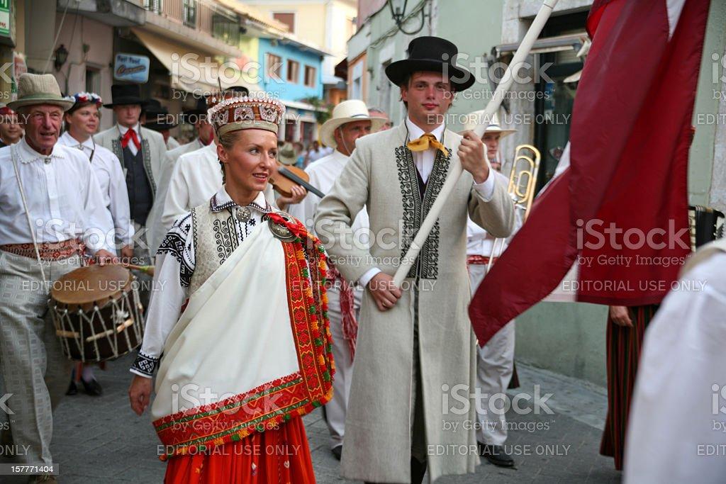 Lefkas International Folklore Festival, parade, Latvia group stock photo