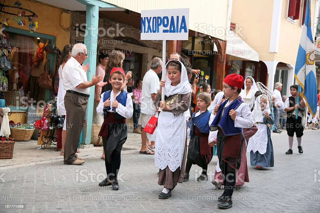 Lefkas International Folklore Festival, parade, local group royalty-free stock photo