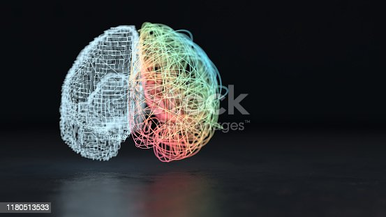 3d render of the creative right and analytical left brain hemisphere