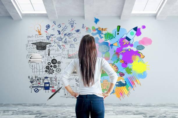 左脳と右脳の側面概念 - 創造性 ストックフォトと画像