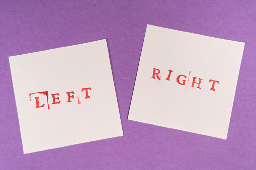 istock left and right words printed on two sheets 1050665754
