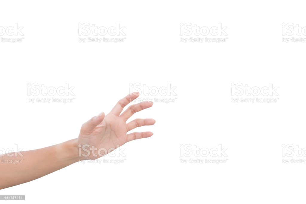 left hand of a woman trying to reach or grab something. fling, touch sign. Reaching out to the left. isolated on white background stock photo