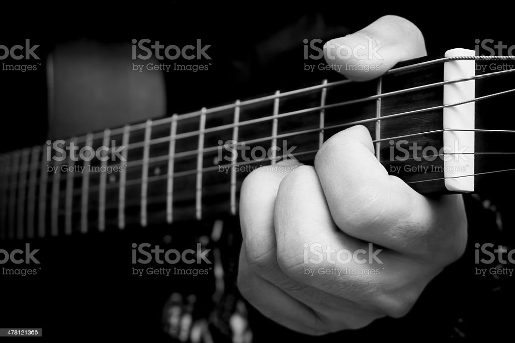 Left Hand Of Musician Guitarist Play Chord On Acoustic Guitar Stock ...