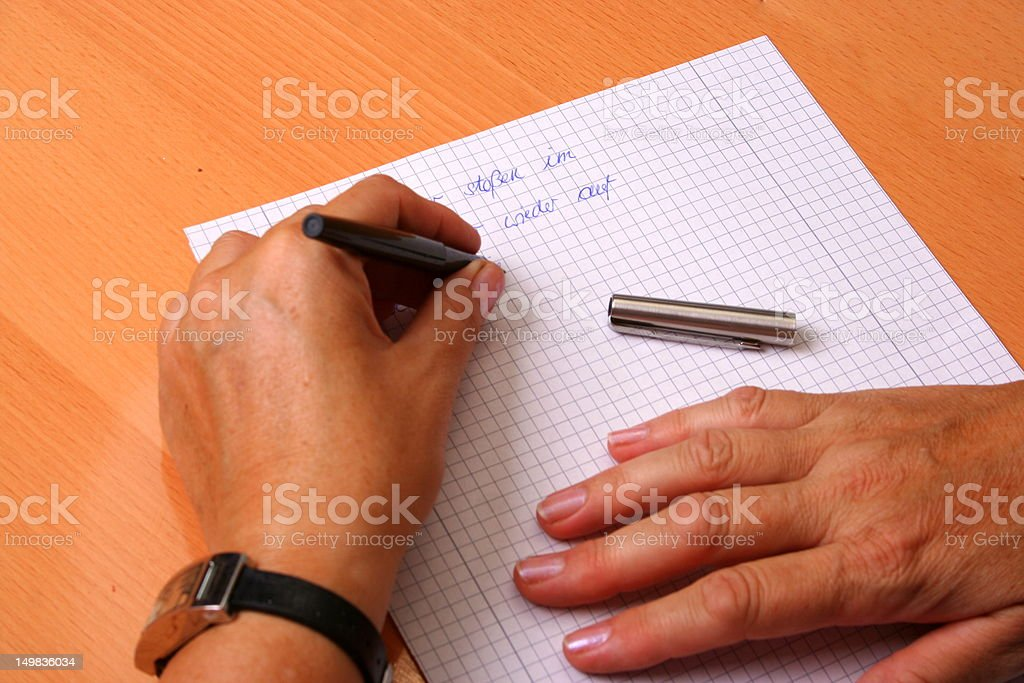 Left hand writing stock photo