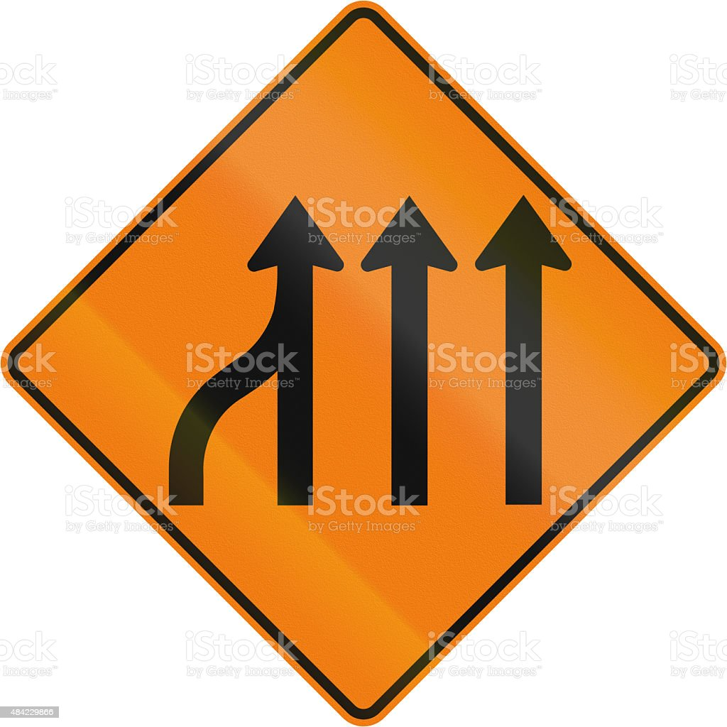 merge left highway construction sign pictures, images and stock