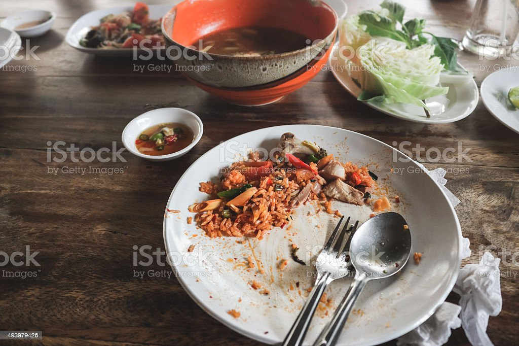 Left over of Thai Tom Yam Fired Rice. stock photo