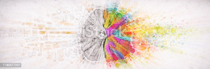 istock Left right human brain concept, textured illustration. Creative left and right part of human brain, emotial and logic parts concept with social and business doodle illustration of left side, and art paint splashes of the right side 1130377207