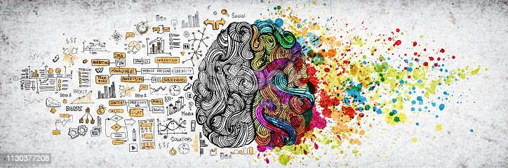 Left right human brain concept, textured illustration. Creative left and right part of human brain, emotial and logic parts concept with social and business doodle illustration and art paint splashes