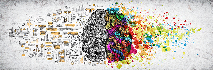 istock Left right human brain concept, textured illustration. Creative left and right part of human brain, emotial and logic parts concept with social and business doodle illustration of left side, and art paint splashes of the right side 1130377208