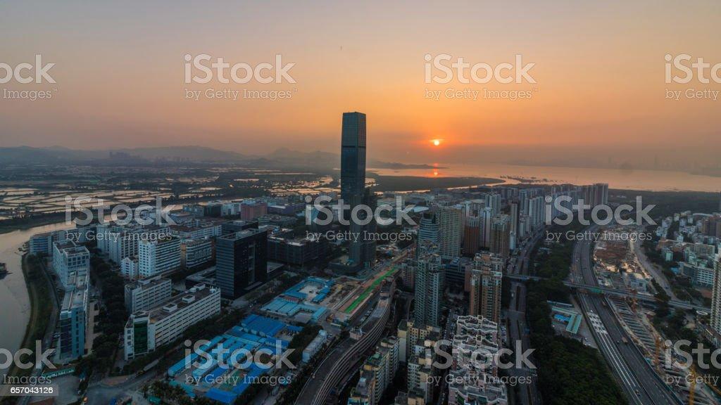 HK left, Shenzhen right stock photo
