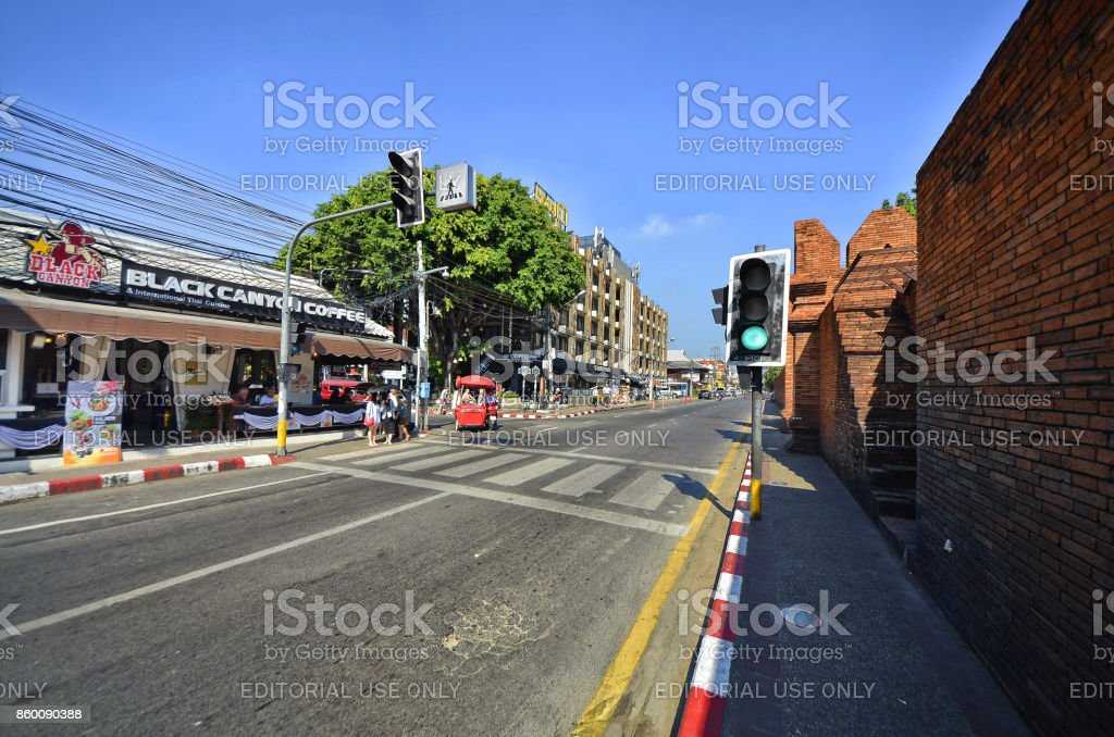 Left side of Tha Phae gate. stock photo