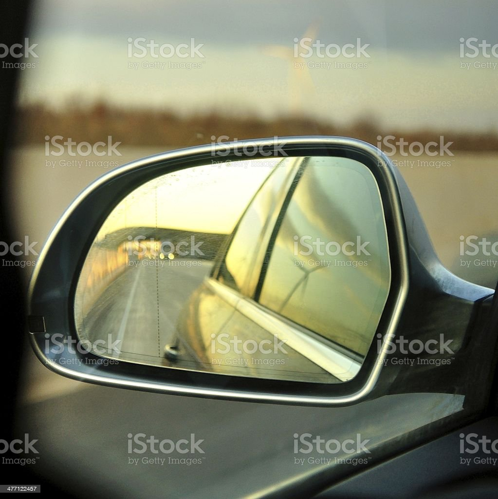 Left side s rear vision mirror of the car royalty-free stock photo