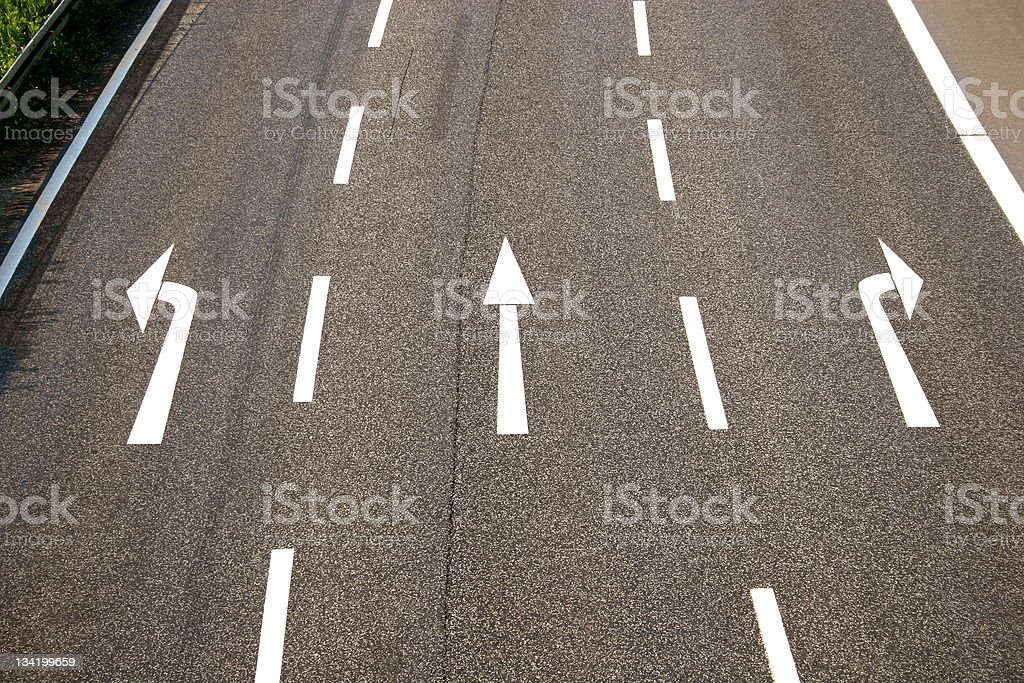 Left, straight or right? stock photo