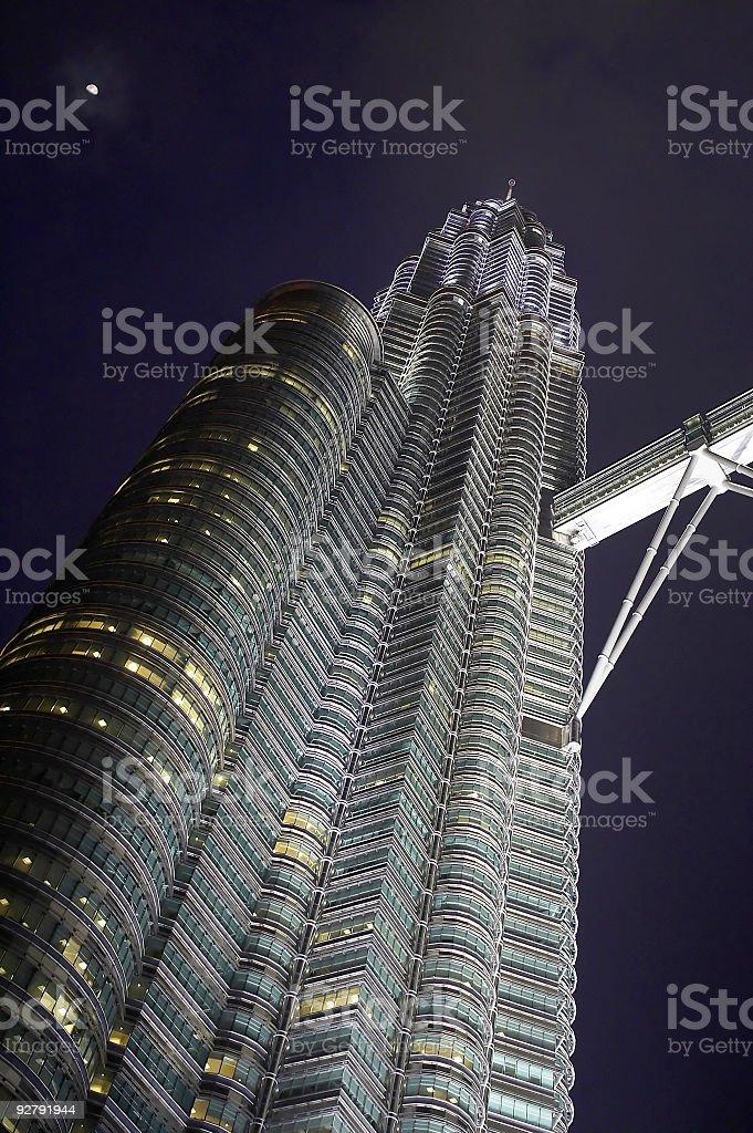 Left Tower at night Kuala Lumpur Series royalty-free stock photo