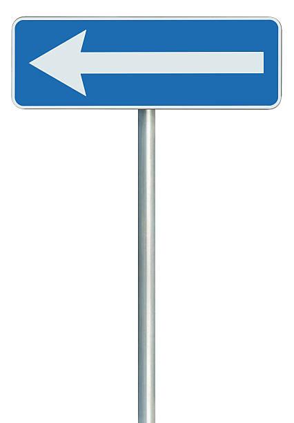 left traffic route only direction sign turn pointer, blue isolated - stock arrow bildbanksfoton och bilder