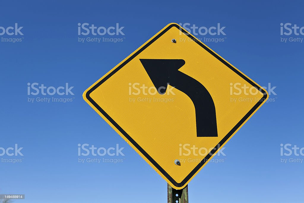 Left Turn Ahead stock photo