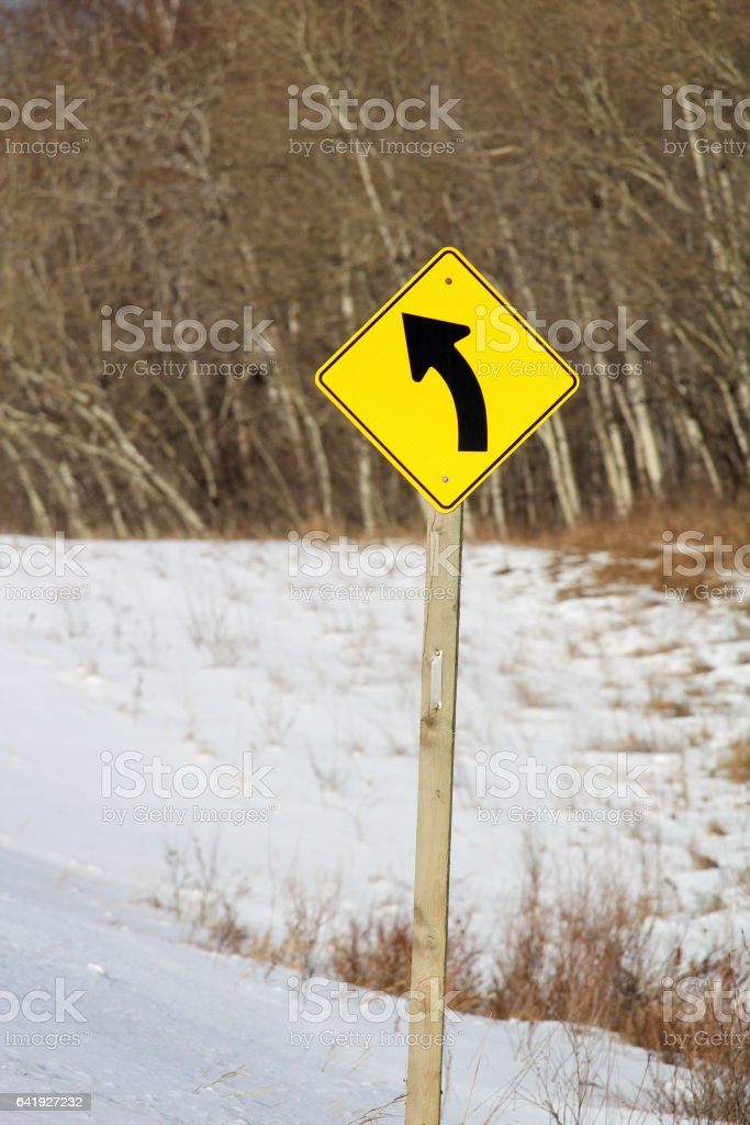 Left Turn Ahead Sign stock photo