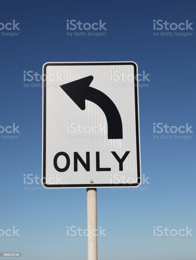 Left turn only sign stock photo