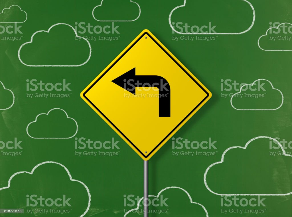 Left Turn Sign - Business Chalkboard Background stock photo
