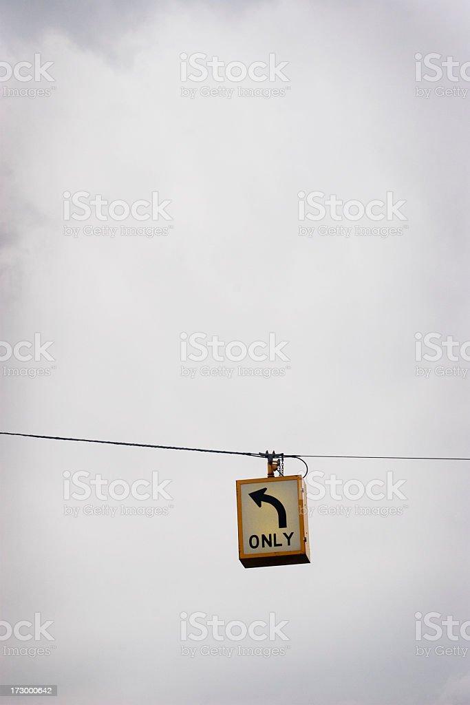 left turn sign stock photo